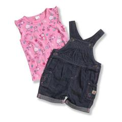 Toddler Girls' Washed Denim Shortall Set