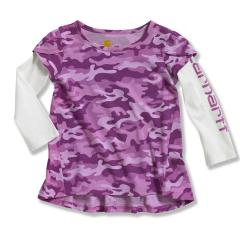 Infant and Toddler Girls' Camo Layered Sleeve Swing Top