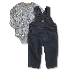 Infant Boys' Washed Denim Bib Overall Set