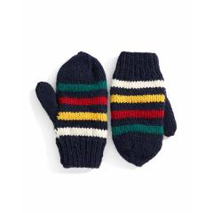 Navy Handknit Mitts