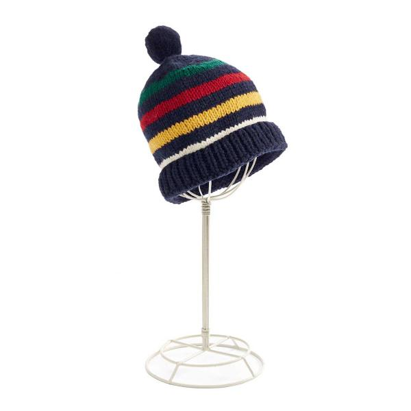 Hudsons Bay Navy Multi Stripe Handknit Toque