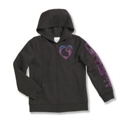 Girls' Logo Brushed Fleece Front Zip Sweatshirt