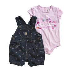Infant Girls' Print Denim Shortall Set