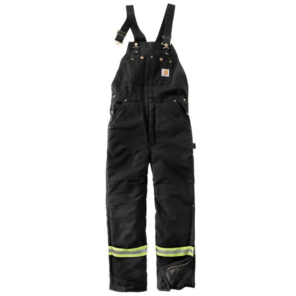 Carhartt Men's High-Visibility Striped Duck Bib Lined Overall
