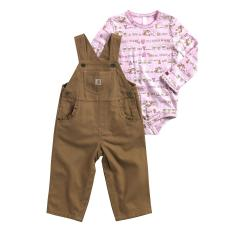 Infant Girls' Farm Stripe Overall Set