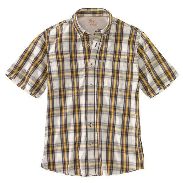 Carhartt Men's Force Mandan Plaid Button Down Short Sleeve Shirt