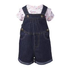 Infant Girls' Denim Shortall Set