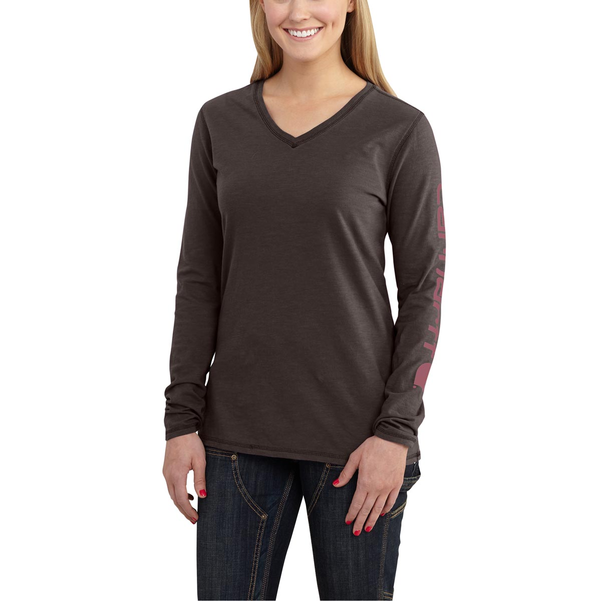 Carhartt Women's Sleeve Logo Long Sleeve T Shirt