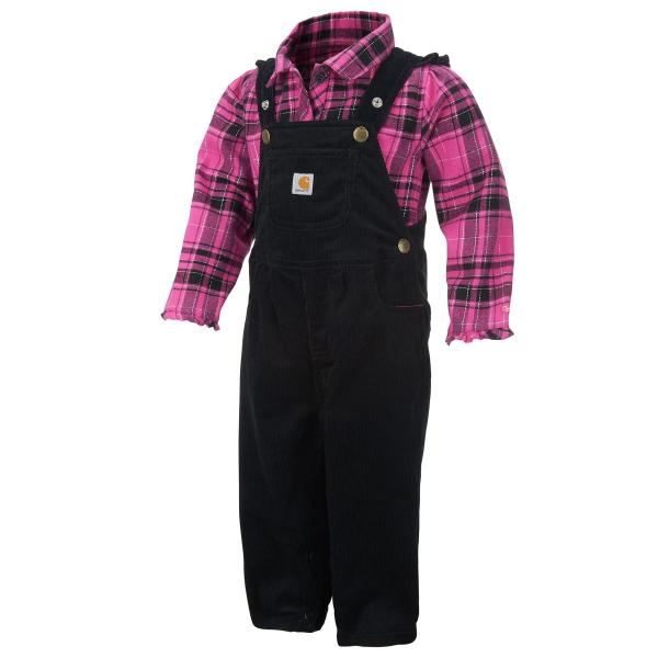 Carhartt Infant Girls' Pretty Plaid Overall Set