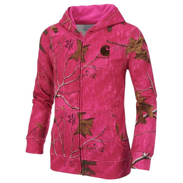 Carhartt Girls' Pink Camo Zip Sweatshirt