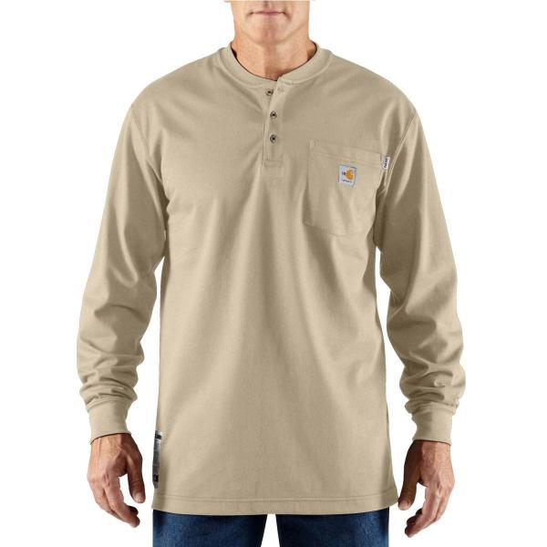 Carhartt Men's Flame-Resistant Force Cotton Long Sleeve Henley - Discontinued Pricing