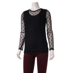 Comfy USA Women's Long Sleeve Tee Polka Dot-discontinued
