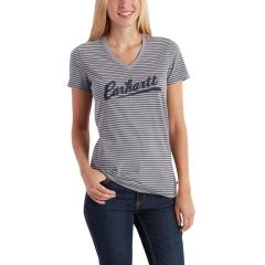 Carhartt Women's Wellton Short Sleeve Striped Logo T-Shirt