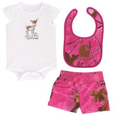 Infant Girls' 3 Piece Camo Gift Short Set