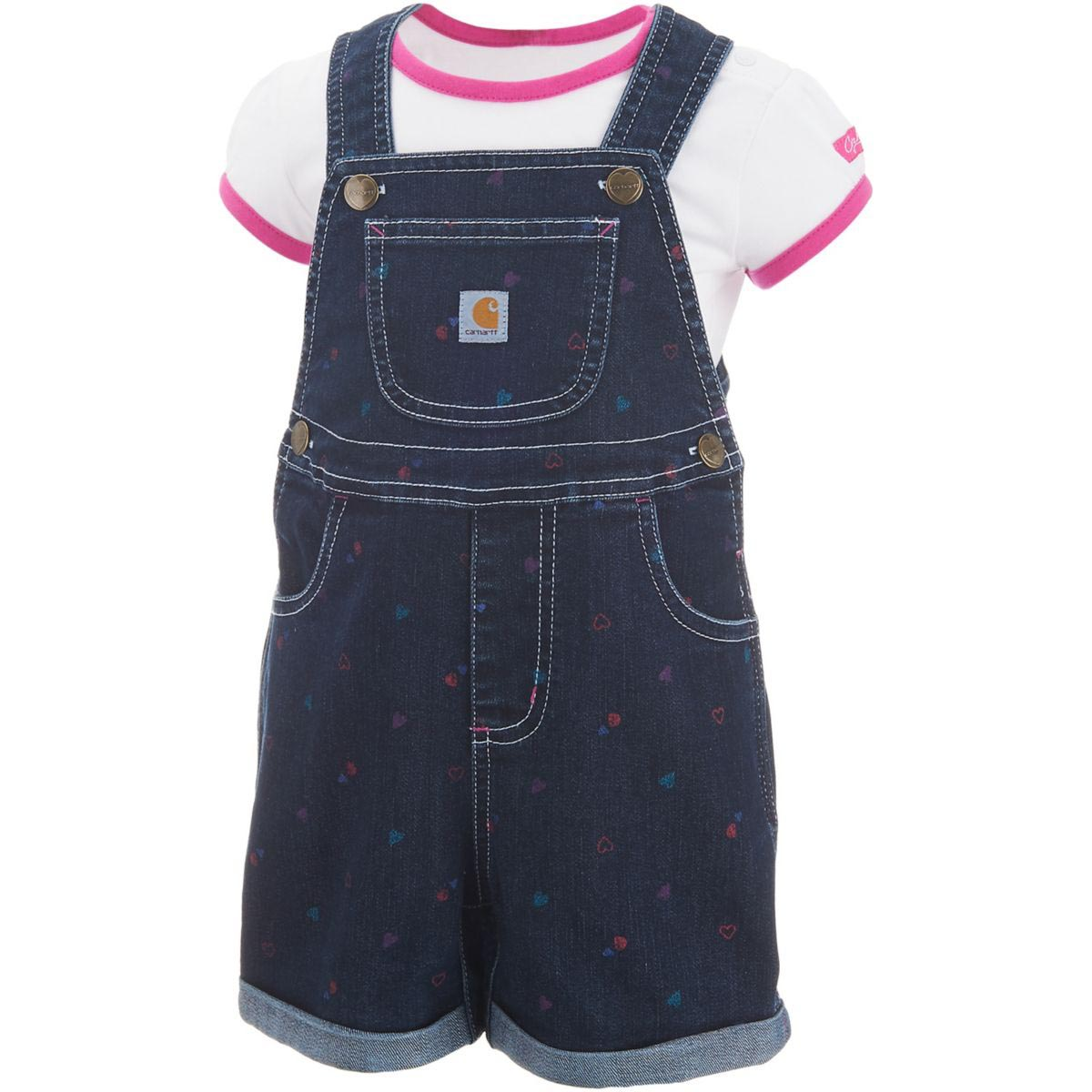 Carhartt Infant Girls' Printed Denim Shortall Set