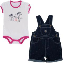 Infant Girls' Printed Denim Shortall Set