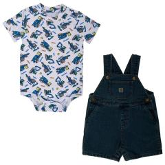 Infant Boys' Denim Shortall Set