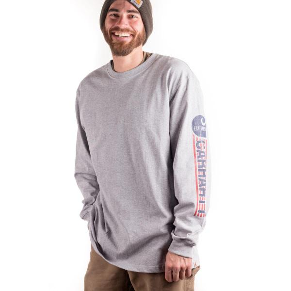 Carhartt Men's Workwear Graphic Red White Blue Long Sleeve Crewneck - Discontinued Pricing