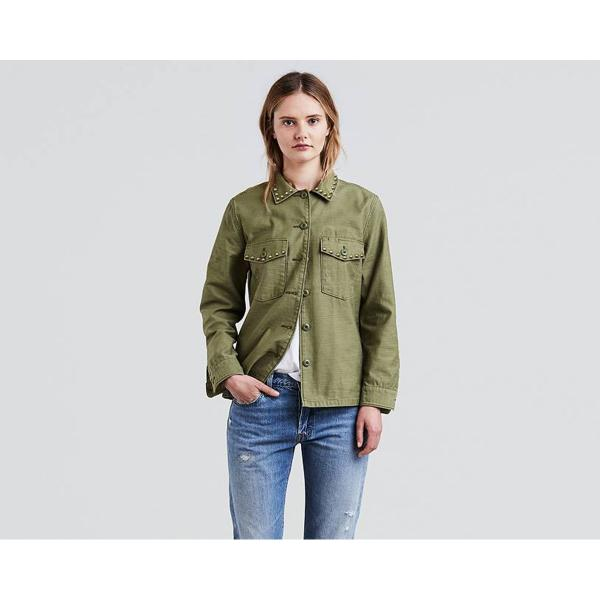 Olive shirt jacket womens