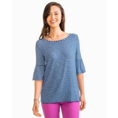 Southern Tide Women's Ruffle Sleeve Stripe Knit Top