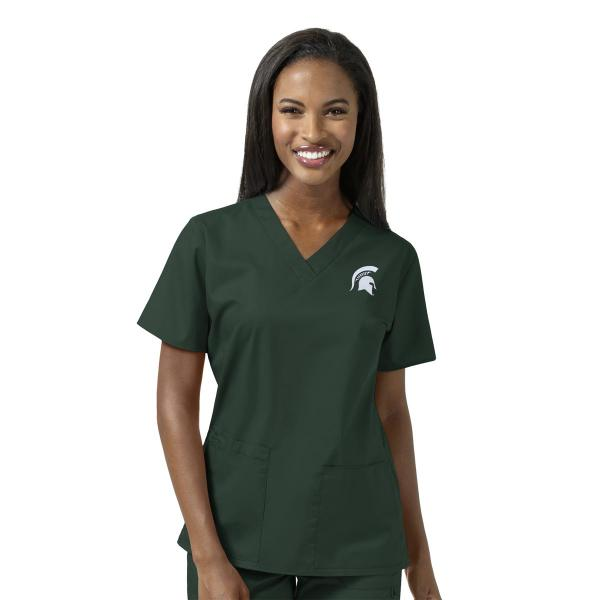 Wink Scrubs Women's MSU Logo V-Neck