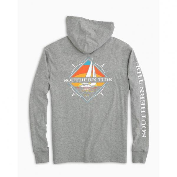 Southern Tide Men's Southern Sailboat Heathered Hoodie Tee