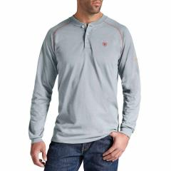 Men's FR Work Henley Long Sleeve - Silver Fox