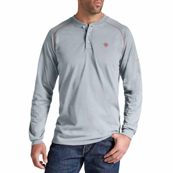 c3cbe784 Ariat Men's FR Work Henley Long Sleeve - Silver Fox