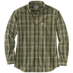 Men's Relaxed Fit Cotton Long-Sleeve Plaid Shirt TW444