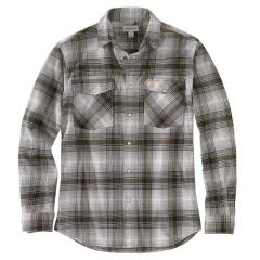 Carhartt Men's Rugged Flex Relaxed Fit Flannel Long-Sleeve Snap-Front Plaid Shirt TW449