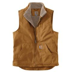 Men's Washed Duck Sherpa-Lined Mockneck Vest