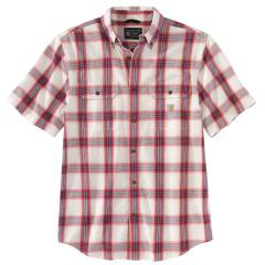 Men's Loose Fit Midweight Chambray SS Plaid Shirt