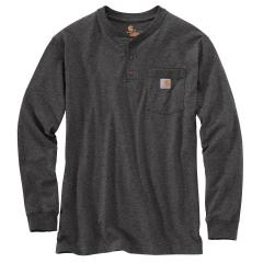 Men's Loose Fit Heavyweight Long Sleeve Pocket Henley T-Shirt
