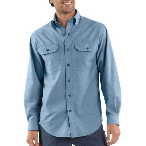 Carhartt Mens Long Sleeve Washed Fort Solid Cotton Button Shirt