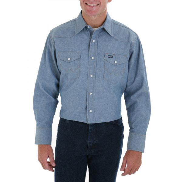 Wrangler Men's Chambray Blue Long Sleeve Twill Solid