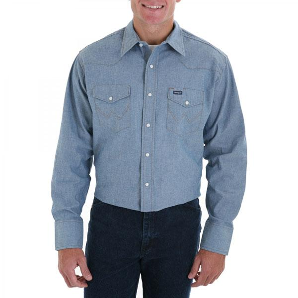 Wrangler Men's Authentic Cowboy Cut Denim Work Shirt