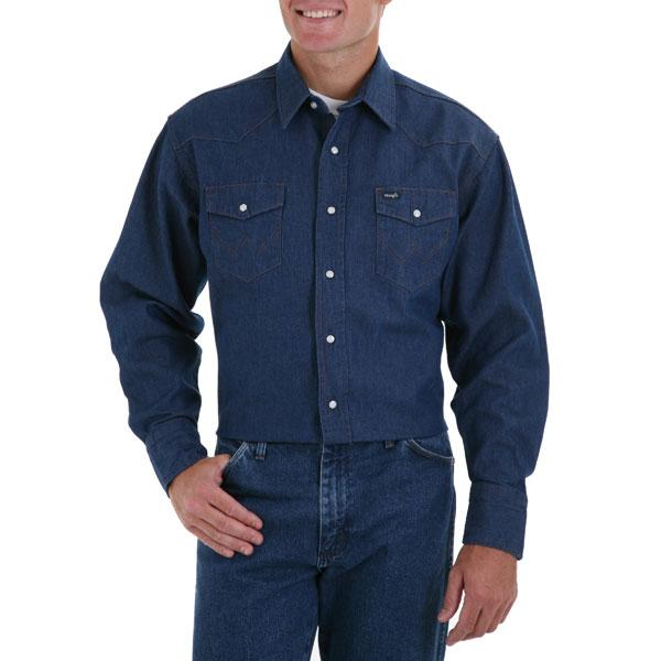 Wrangler Men's Cowboy Cut Long Sleeve Denim Shirt