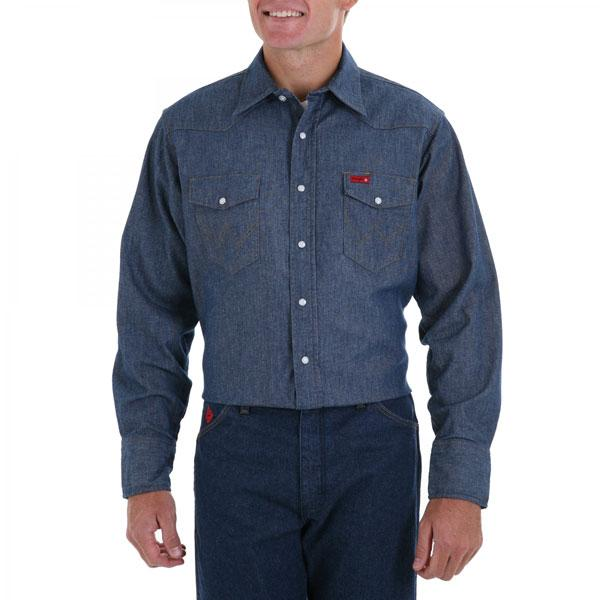 Wrangler Men's Flame Resistant Long Sleeve Indigo Denim Solid