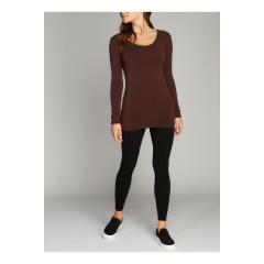 Cest Moi Women's Long Sleeve Scoop Neck Top