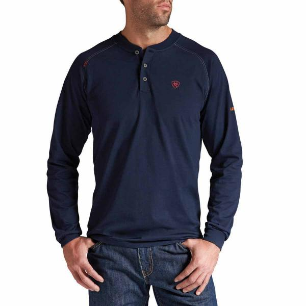 Ariat Men's FR Work Henley Long Sleeve - Navy