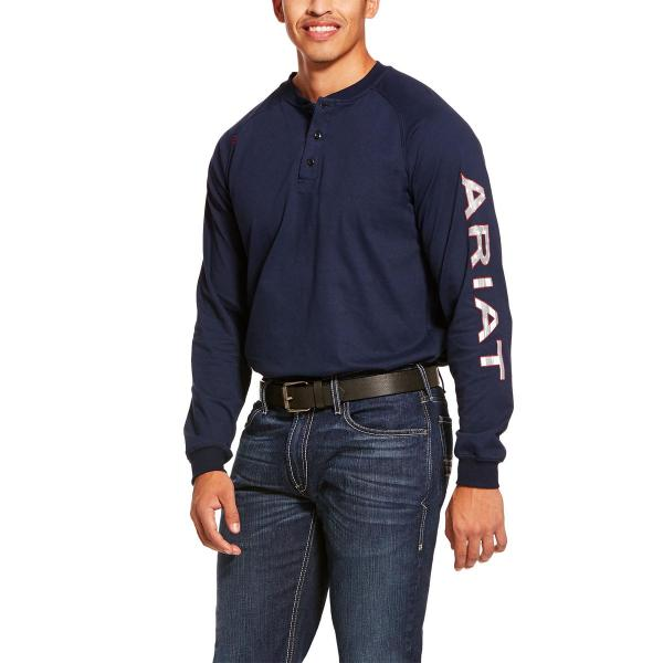 Ariat Men's FR Liberty Logo Long Sleeve Top - Navy