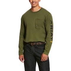 Ariat Men's Rebar Workman Long Sleeve Logo T-Shirt - Pine Green