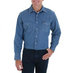 Men's Cowboy Cut Long Sleeve Stonewash Shirt