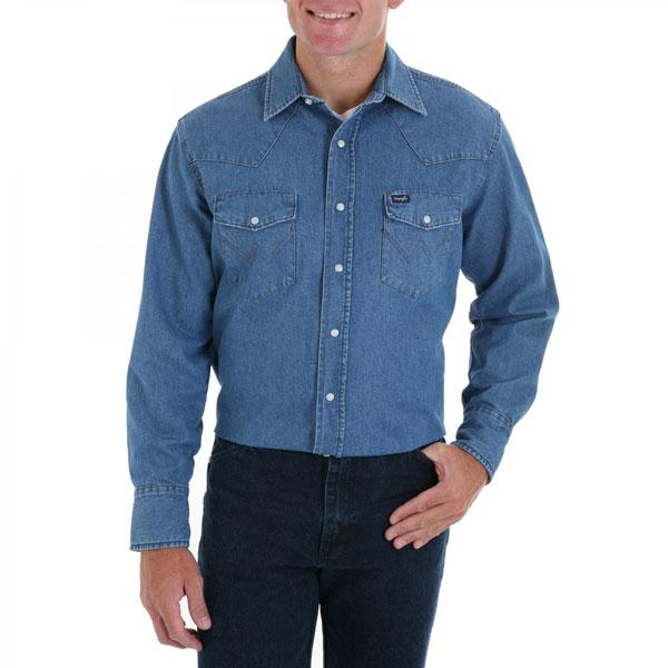 Wrangler Men's Cowboy Cut Long Sleeve Stonewash Shirt