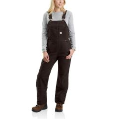 Women's Quilt Lined Washed Duck Bib Overalls