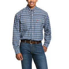 Men's FR Plaid Featherlight Work Shirt - Navy Plaid