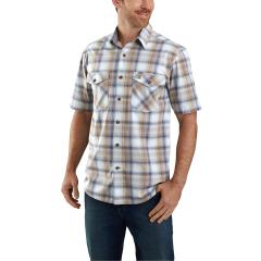 Men's Rugged Flex Relaxed Fit Lightweight SS Button Front Plaid Shirt TW173
