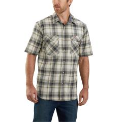 Men's Rugged Flex Relaxed Fit Lightweight SS Snap Front Plaid Shirt TW171