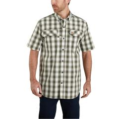 Men's Force Relaxed Fit Lightweight SS Button Front Plaid Shirt TW258