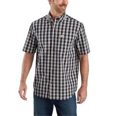 Men's Relaxed Fit Lightweight SS Button Front Plaid Shirt